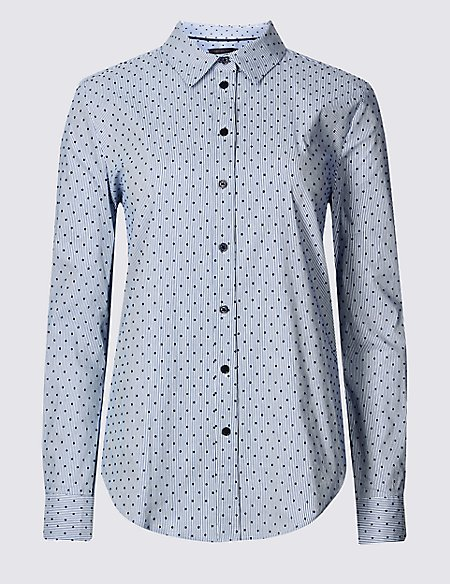 Cotton Rich Printed Long Sleeve Shirt