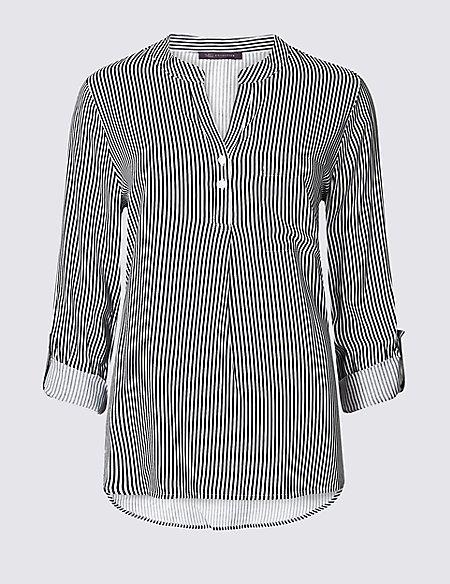 Striped Notch Neck Long Sleeve Blouse