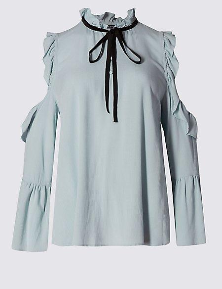 3/4 Sleeve Cold Shoulder Blouse