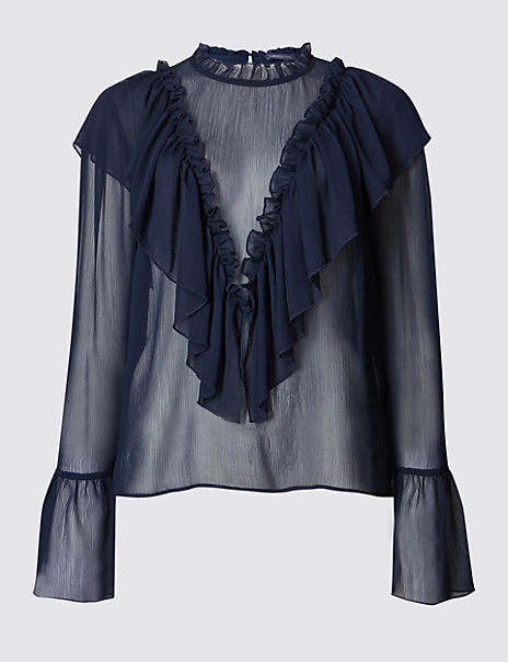 Ruffle Front High Neck Long Sleeve Blouse