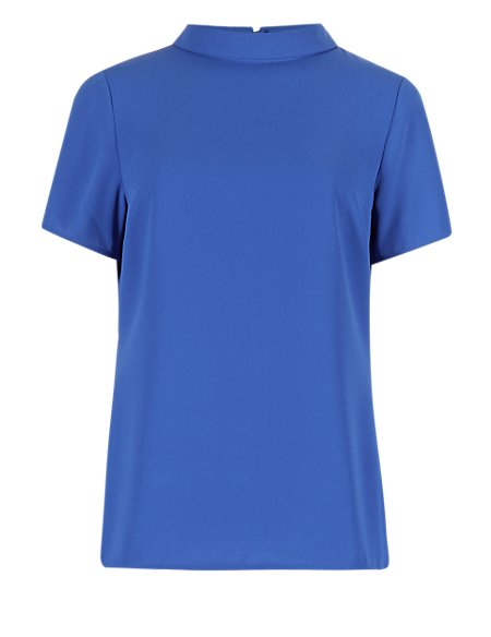 Turtle Neck Short Sleeve Shell Top