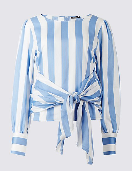 Pure Cotton Striped Tie Front Shell Top