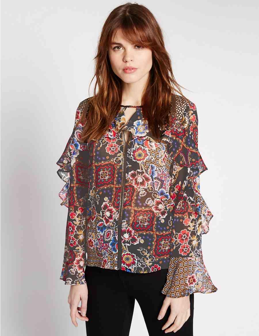 8a016ec5915c5 Floral Print Ruffle Sleeve Blouse
