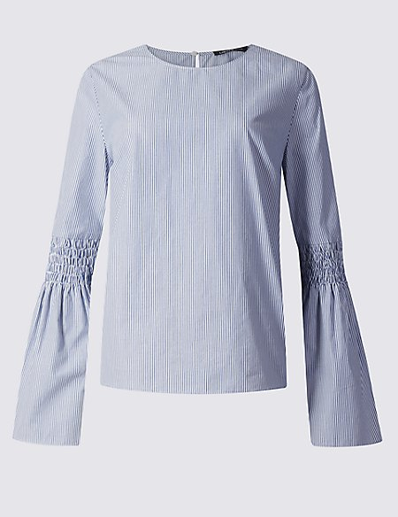 Pure Cotton Striped Fluted Sleeve Blouse