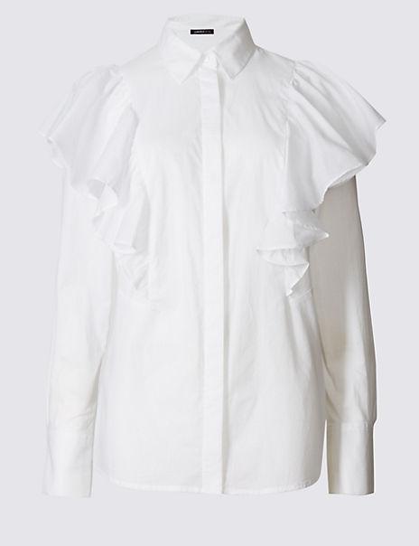 Pure Cotton Poplin Ruffle Shirt