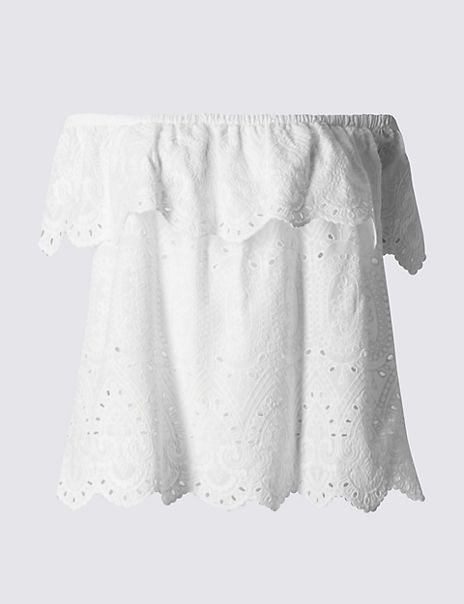 Pure Cotton Broderie Cold Shoulder Bardot Top