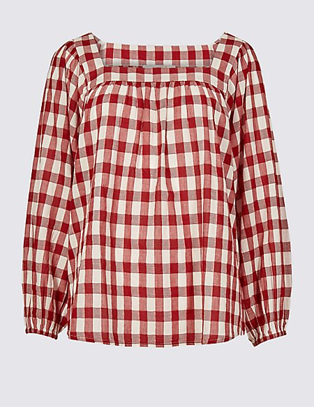 Pure Cotton Oversized Checked Blouse