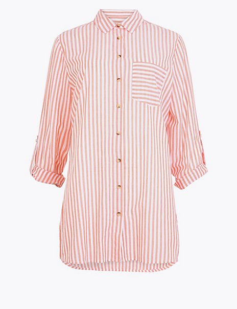 Pure Cotton Striped Longline Shirt