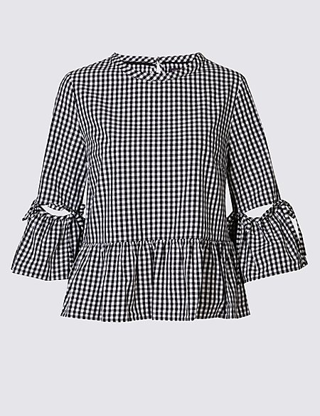 Pure Cotton Gingham Flared Sleeve Blouse