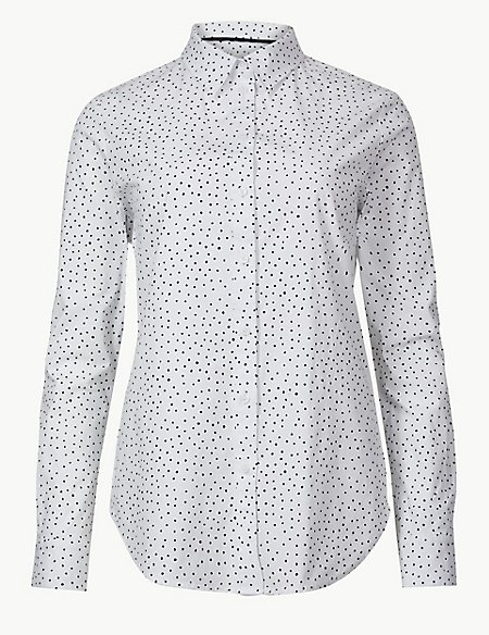 Cotton Rich Polka Dot Long Sleeve Shirt