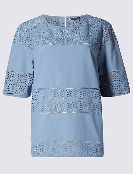 Pure Cotton Cutwork Panel Shell Top