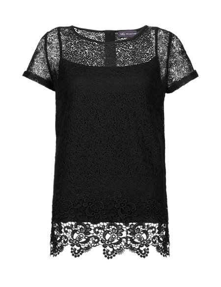 Lace Layered Short Sleeve Shell Top
