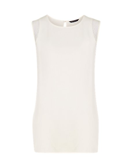 Lace Trim Round Neck Sleeveless Shell Top