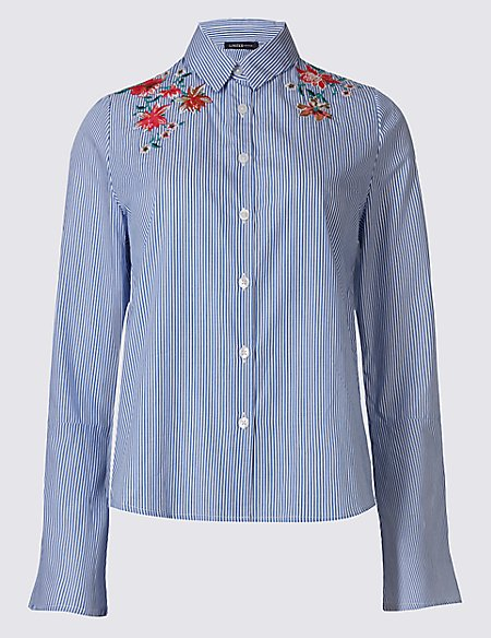 Pure Cotton Floral Embroidered Flared Sleeve Shirt