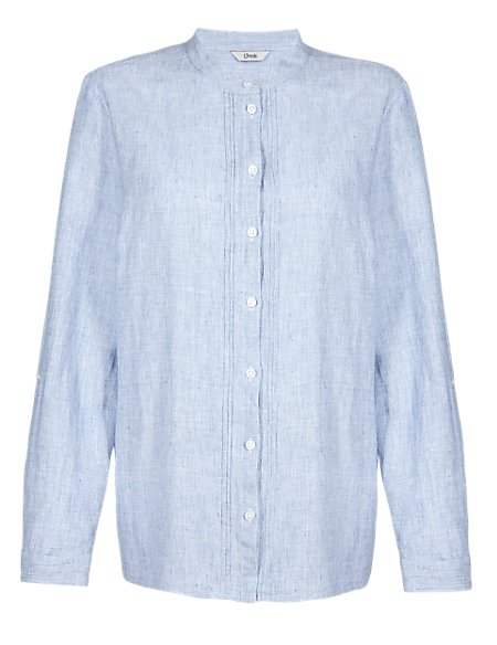 Linen Blend Pintuck Chambray Shirt