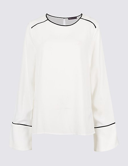 Flute Cuff Round Neck Long Sleeve Blouse