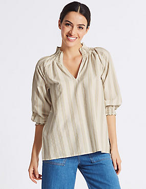 Cotton Blend Striped 3/4 Sleeve Blouse