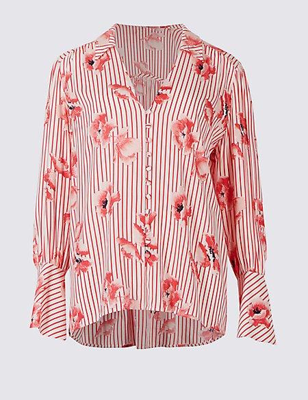 Oversized Floral Stripe Long Sleeve Shirt