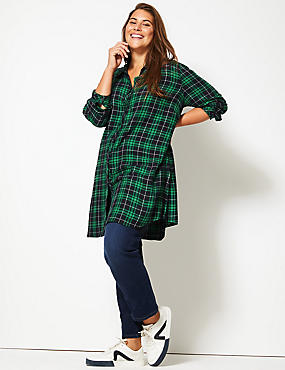 CURVE Checked Longline Long Sleeve Shirt