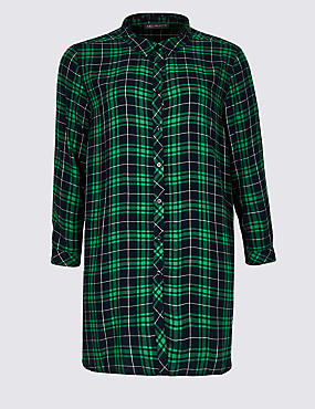 CURVE Checked Longline Long Sleeve Shirt, BLUE MIX, catlanding