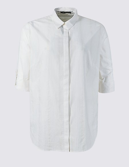 CURVE Cotton Rich Striped Shirt