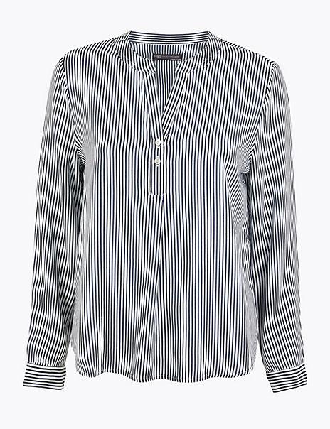 PETITE Striped Button Detailed Blouse