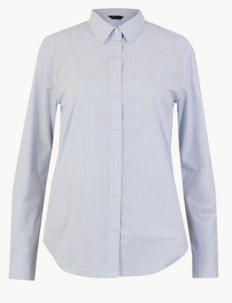 Cotton Rich Button Detailed Striped Shirt