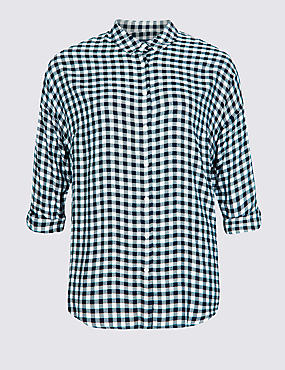 CURVE Checked Long Sleeve Shirt  , NAVY MIX, catlanding