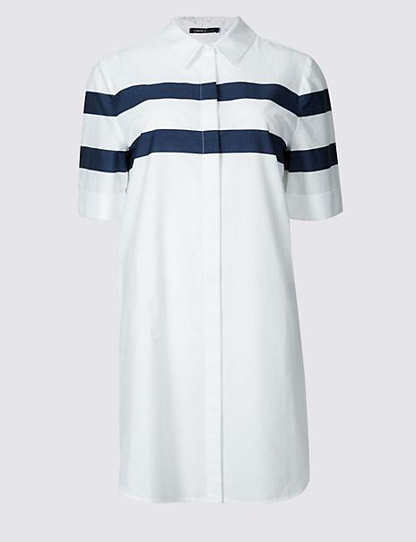 Pure Cotton Longline Striped Shirt