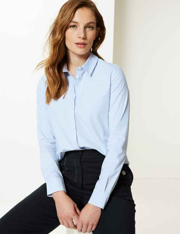 a806ea847e78b3 Cotton Rich Button Detailed Shirt