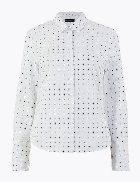 Printed Fitted Long Sleeve Shirt