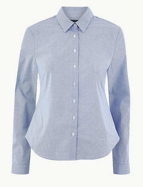 Cotton Rich Striped Button Detailed Shirt