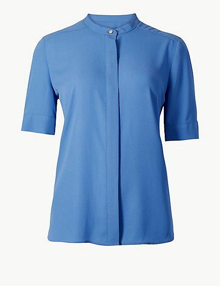 Round Neck Short Sleeve Blouse