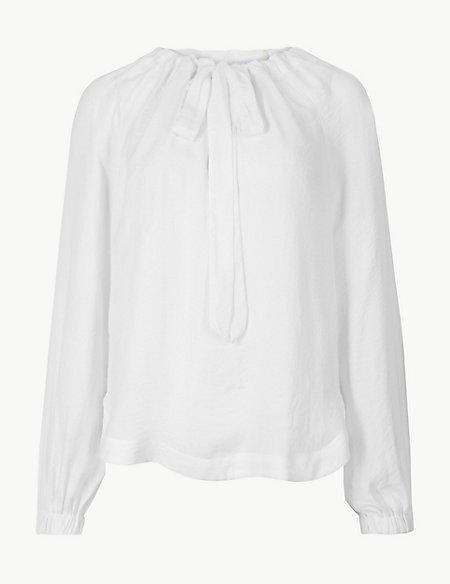 Tie Neck Long Sleeve Blouse