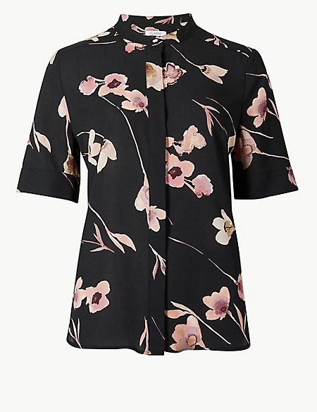 Floral Print Round Neck Short Sleeve Blouse