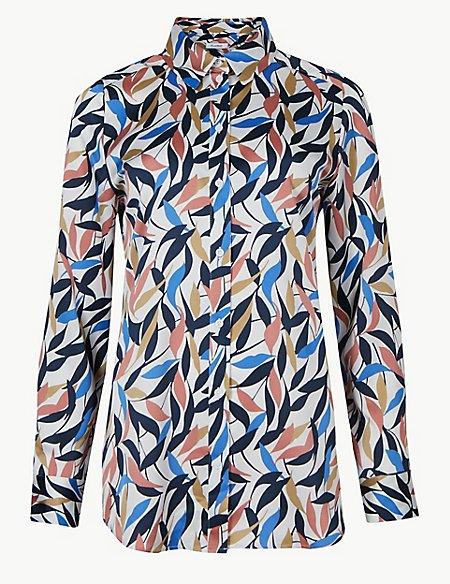 Satin Print Long Sleeve Shirt