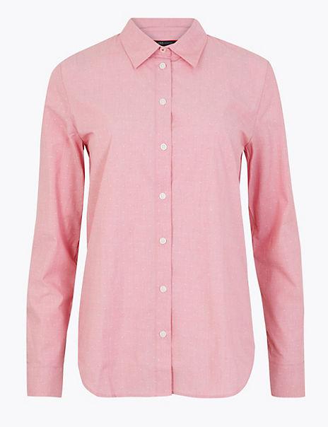 Pima Cotton Polka Dot Print Shirt