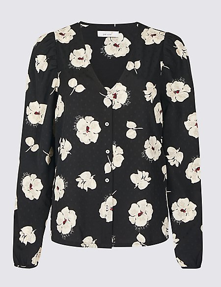 Floral Print V-Neck Long Sleeve Blouse