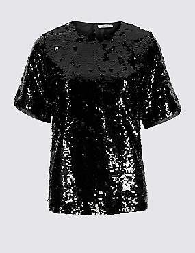 Embellished Round Neck Short Sleeve Blouse