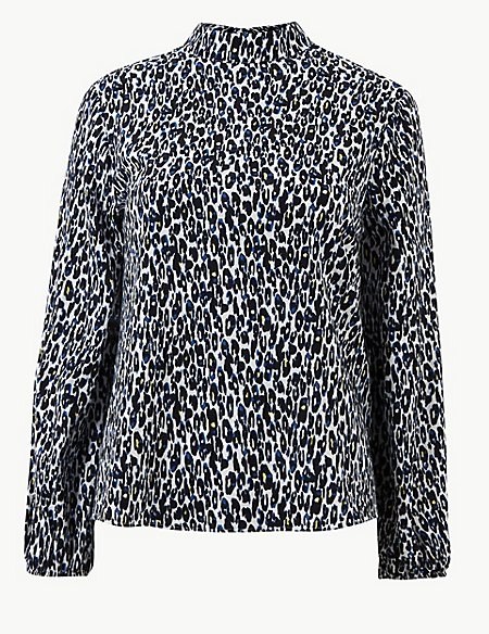 7b8d810eafc33 Product images. Skip Carousel. Animal Print High Neck Long Sleeve Blouse