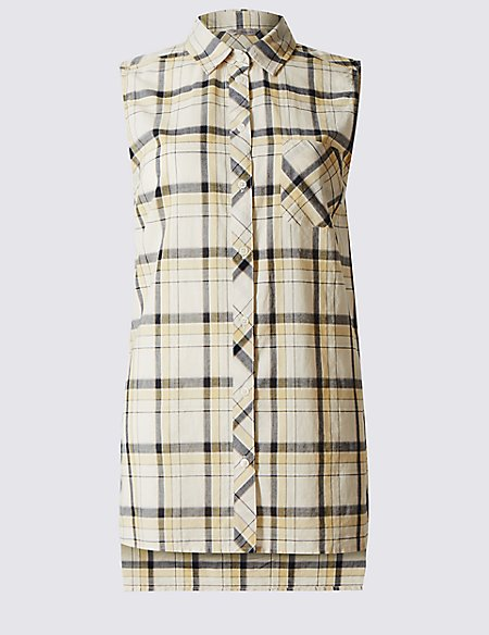 Pure Cotton Checked Sleeveless Shirt