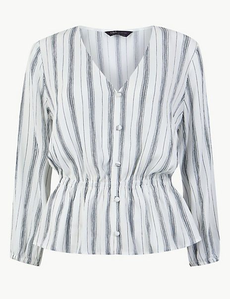 Striped Button Detailed Blouse