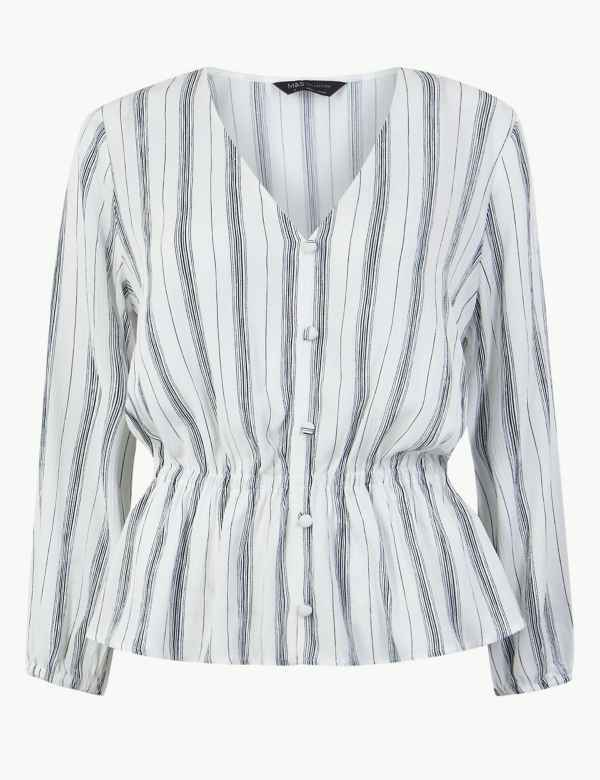11f140a30c24e Striped Button Detailed Blouse