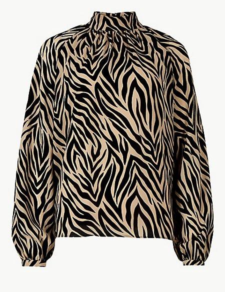 Animal Print High Neck Long Sleeve Blouse