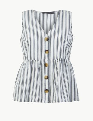 4e8a22e1e1a Pure Cotton Striped Button Detailed Blouse £22.50