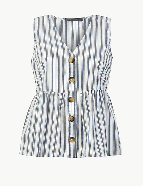 Pure Cotton Striped Button Detailed Blouse