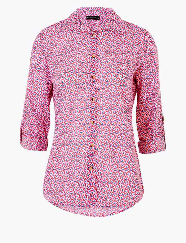 clp60449220: Pure Cotton Floral Long Sleeve Shirt