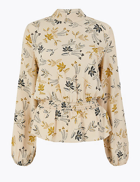 Printed Waisted Blouse