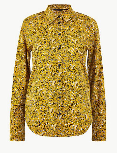 Pima Cotton Floral Print Shirt