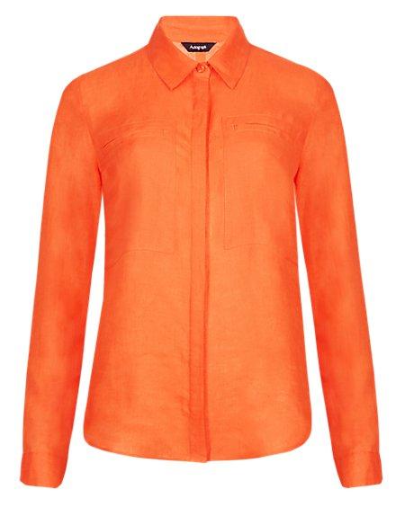 Pure Linen Twin Pocket Shirt